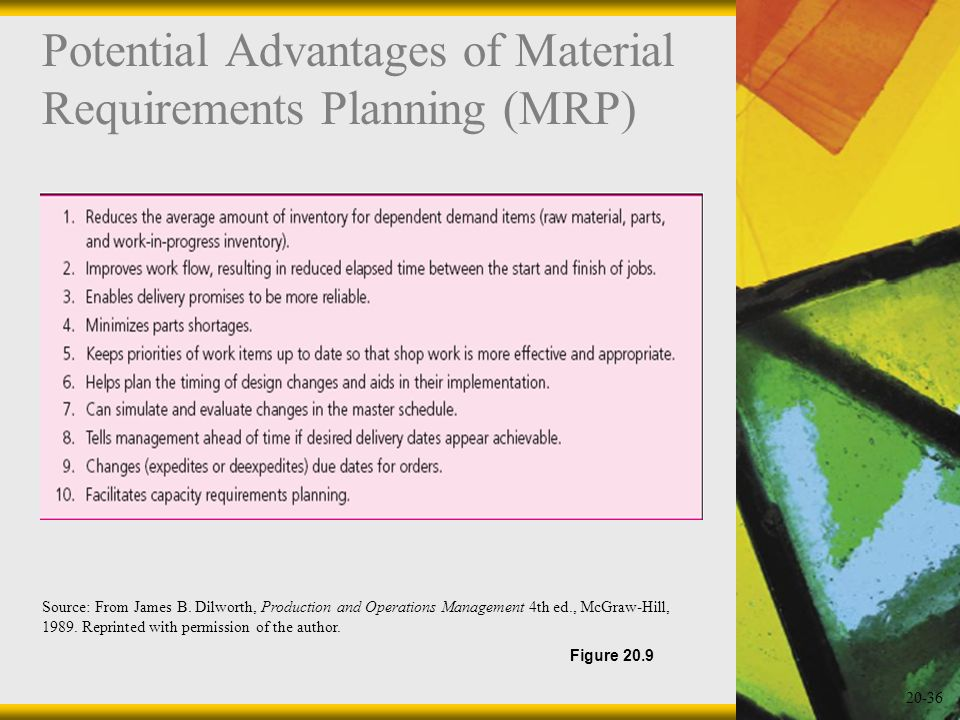 Potential Advantages of Material Requirements Planning (MRP)
