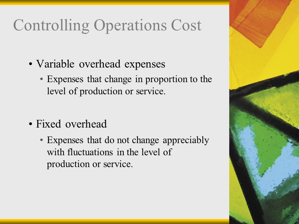 Controlling Operations Cost
