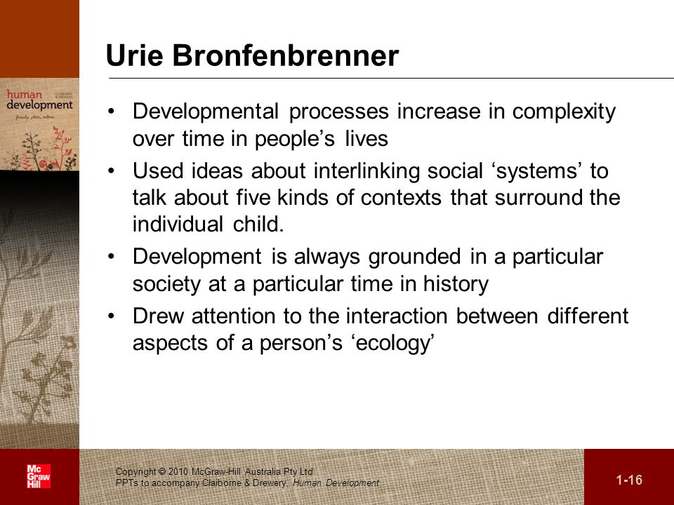 Urie BronfenbrennerDevelopmental processes increase in complexity over time in people's lives.