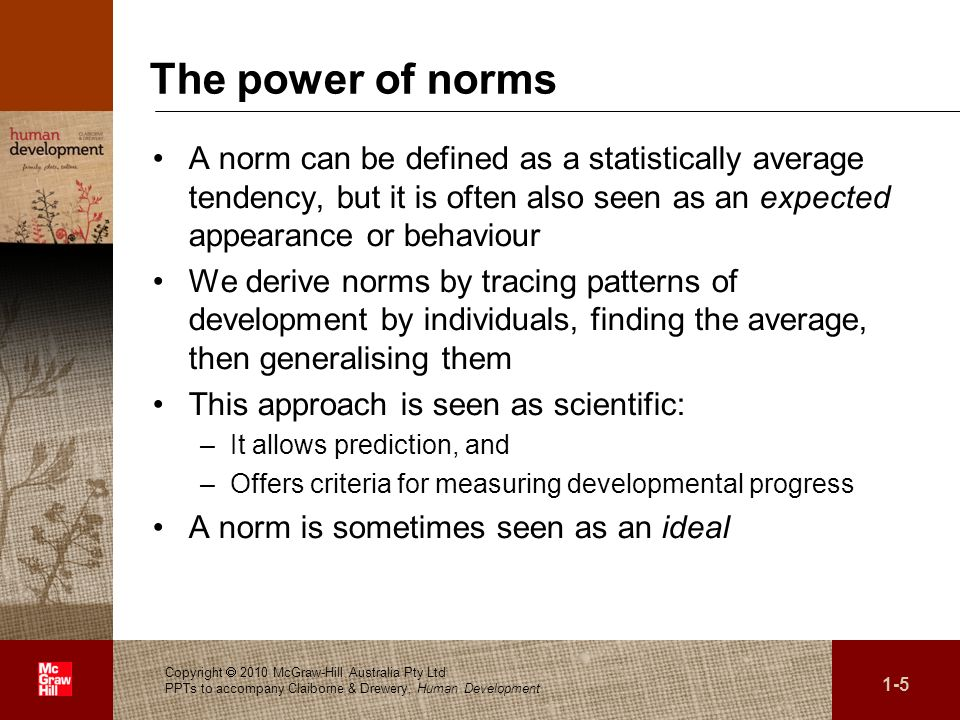 The power of norms A norm can be defined as a statistically average tendency, but it is often also seen as an expected appearance or behaviour.