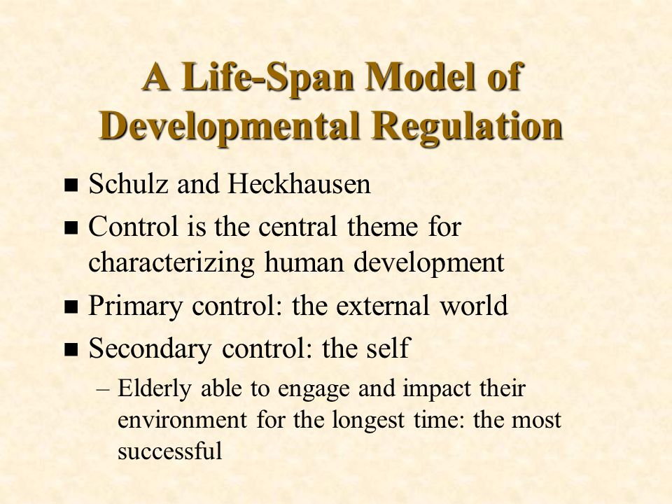 A Life-Span Model of Developmental Regulation