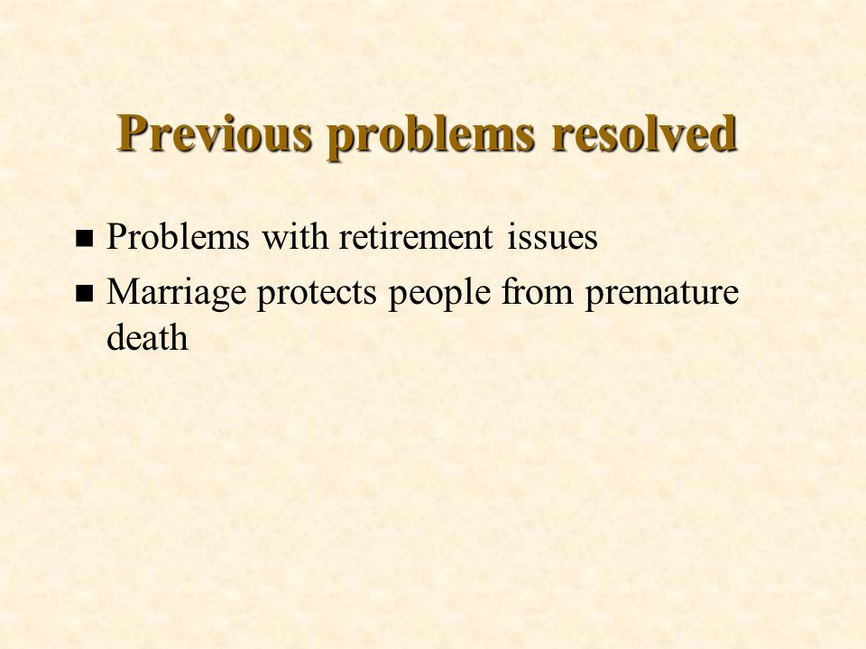 Previous problems resolved