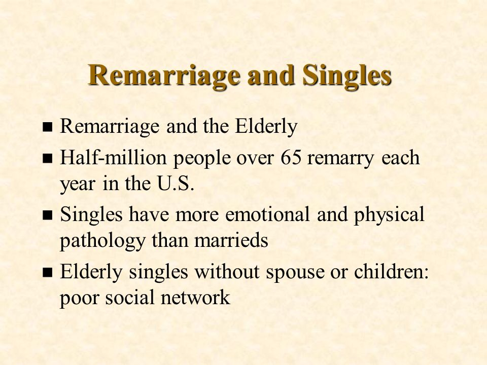 Remarriage and Singles