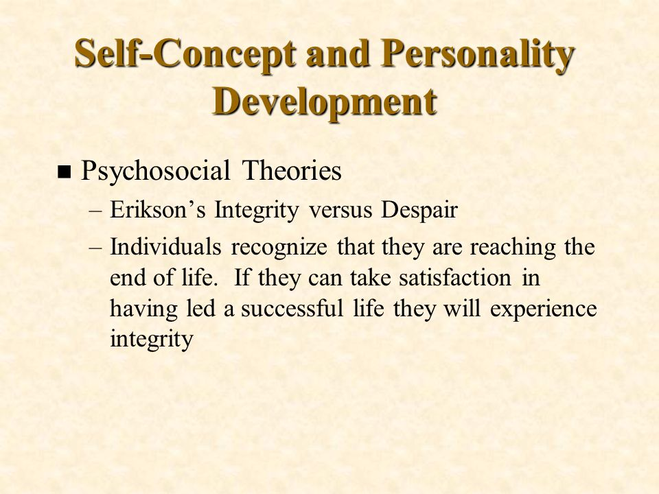 Self-Concept and Personality Development