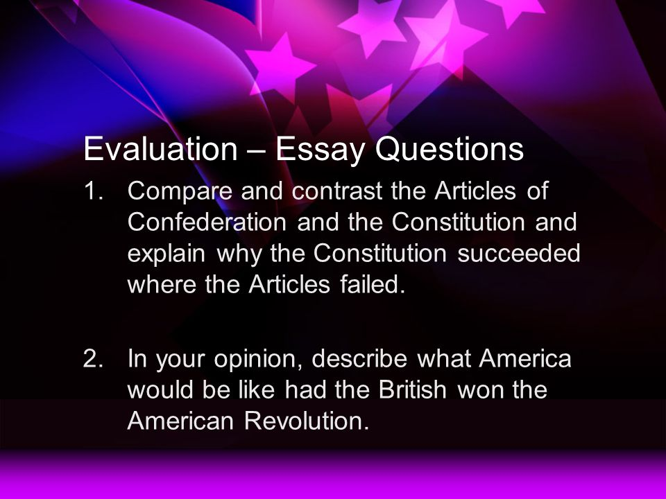 compare and contrast articles of confederation and us constitution essay