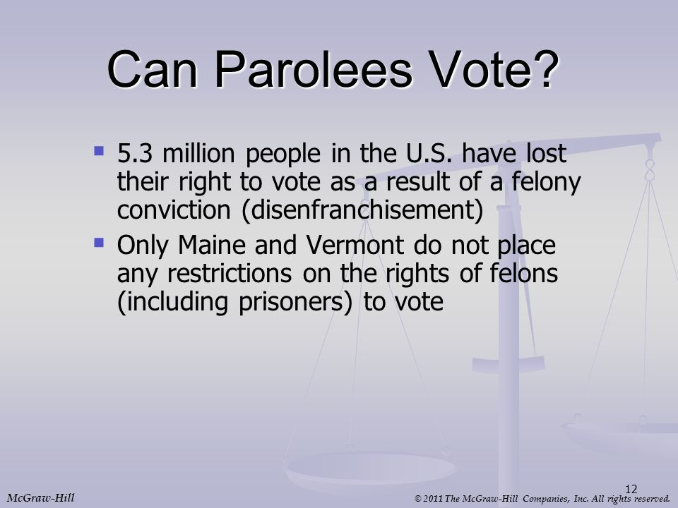 Can Parolees Vote 5.3 million people in the U.S. have lost their right to vote as a result of a felony conviction (disenfranchisement)