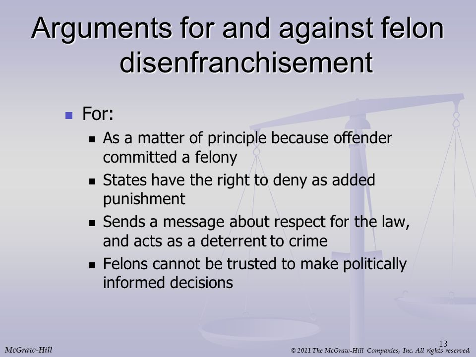 Arguments for and against felon disenfranchisement