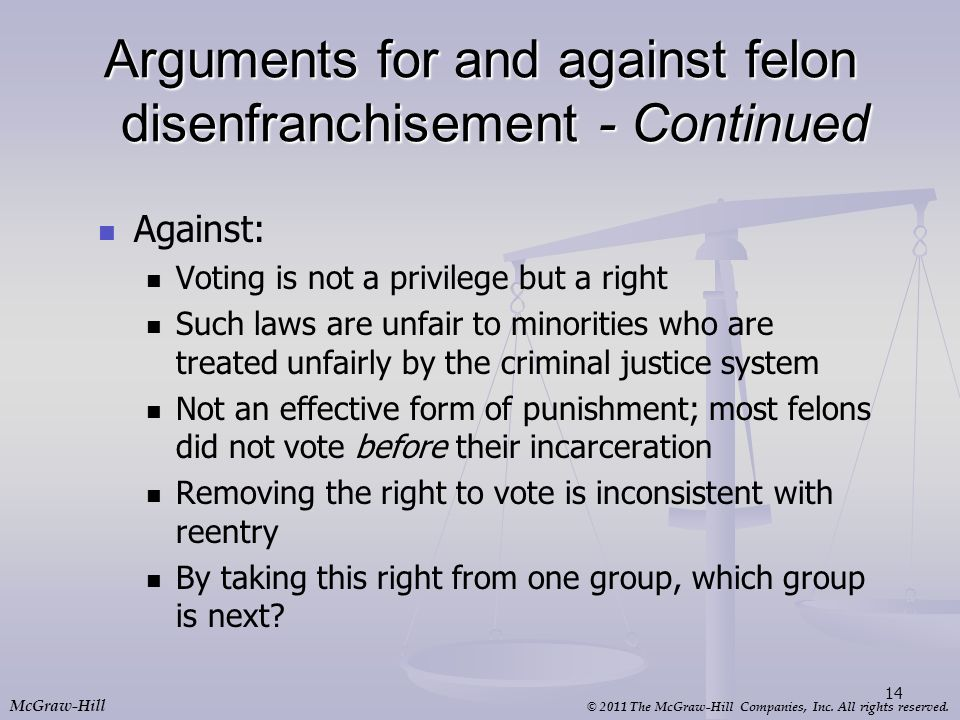Arguments for and against felon disenfranchisement - Continued
