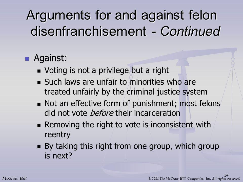 Arguments for and against felon disenfranchisement - Continued
