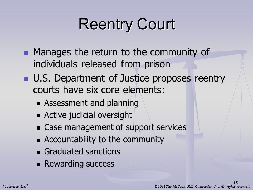 Reentry Court Manages the return to the community of individuals released from prison.