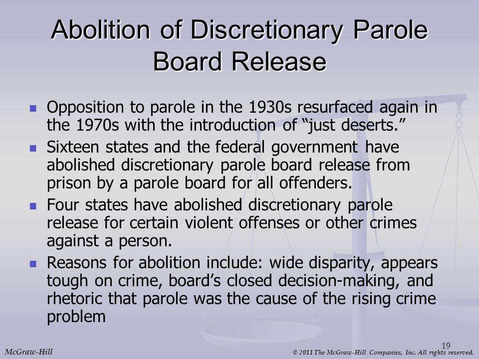 Abolition of Discretionary Parole Board Release