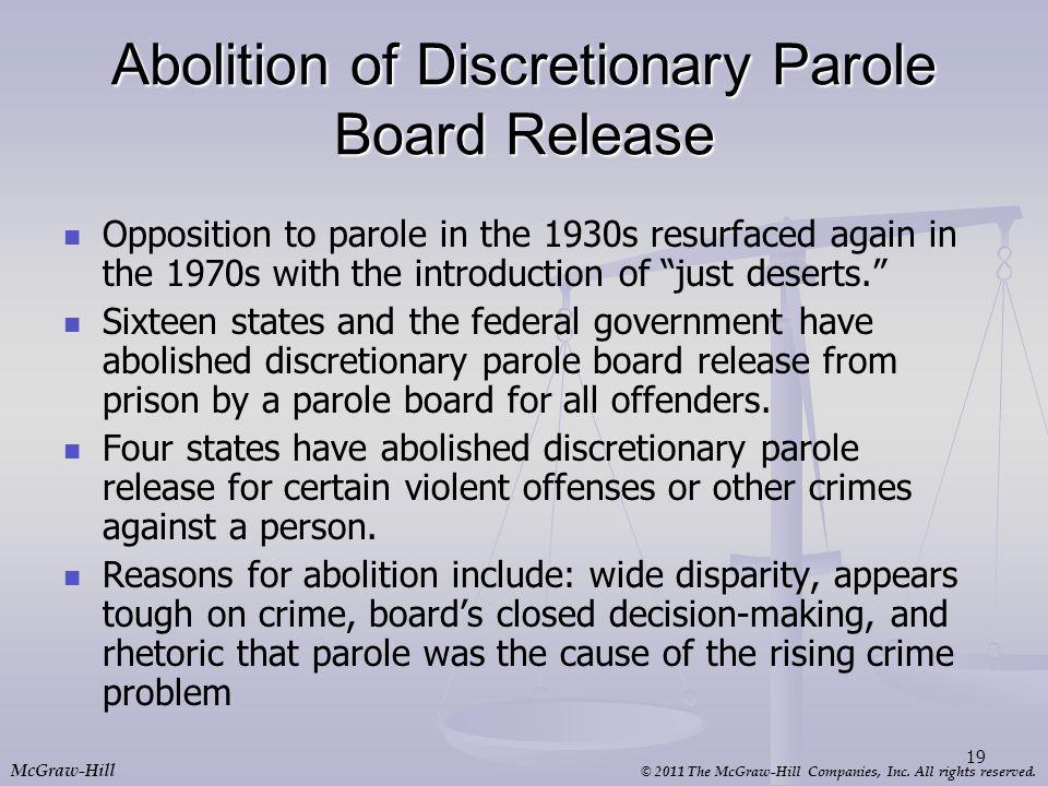 Abolition of Discretionary Parole Board Release