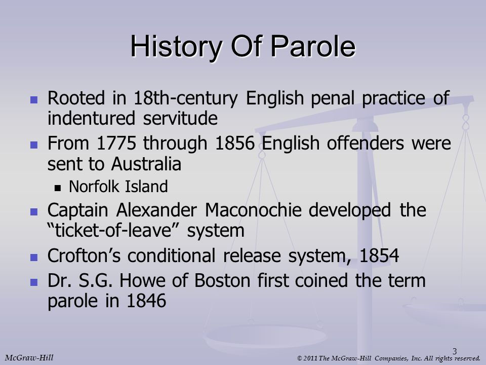 History Of Parole Rooted in 18th-century English penal practice of indentured servitude.