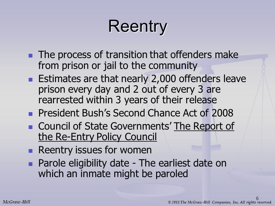Reentry The process of transition that offenders make from prison or jail to the community.