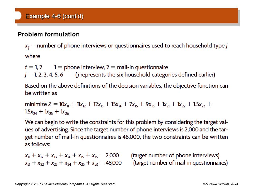 Example 4-6 (cont'd) Problem formulation