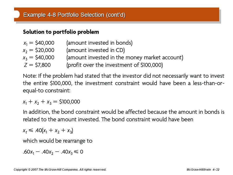 Example 4-8 Portfolio Selection (cont'd)