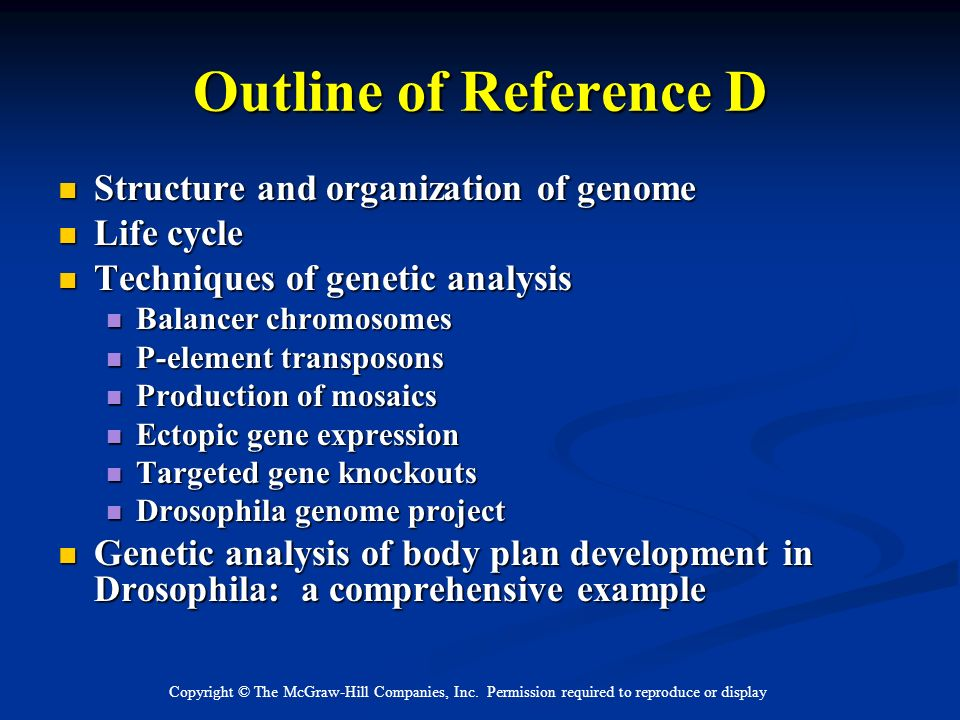 Outline of Reference D Structure and organization of genome Life cycle