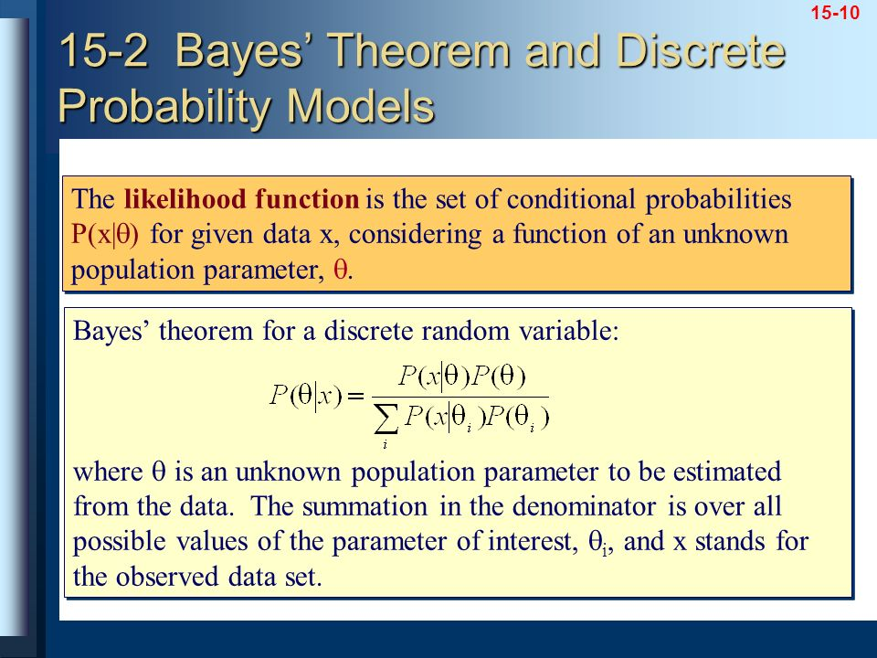 15-2 Bayes' Theorem and Discrete Probability Models