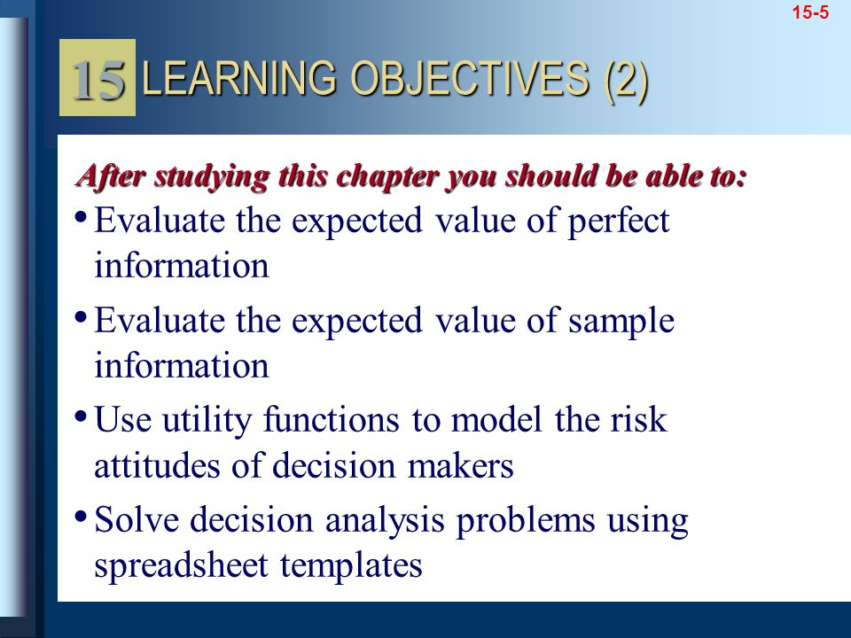 15 LEARNING OBJECTIVES (2)
