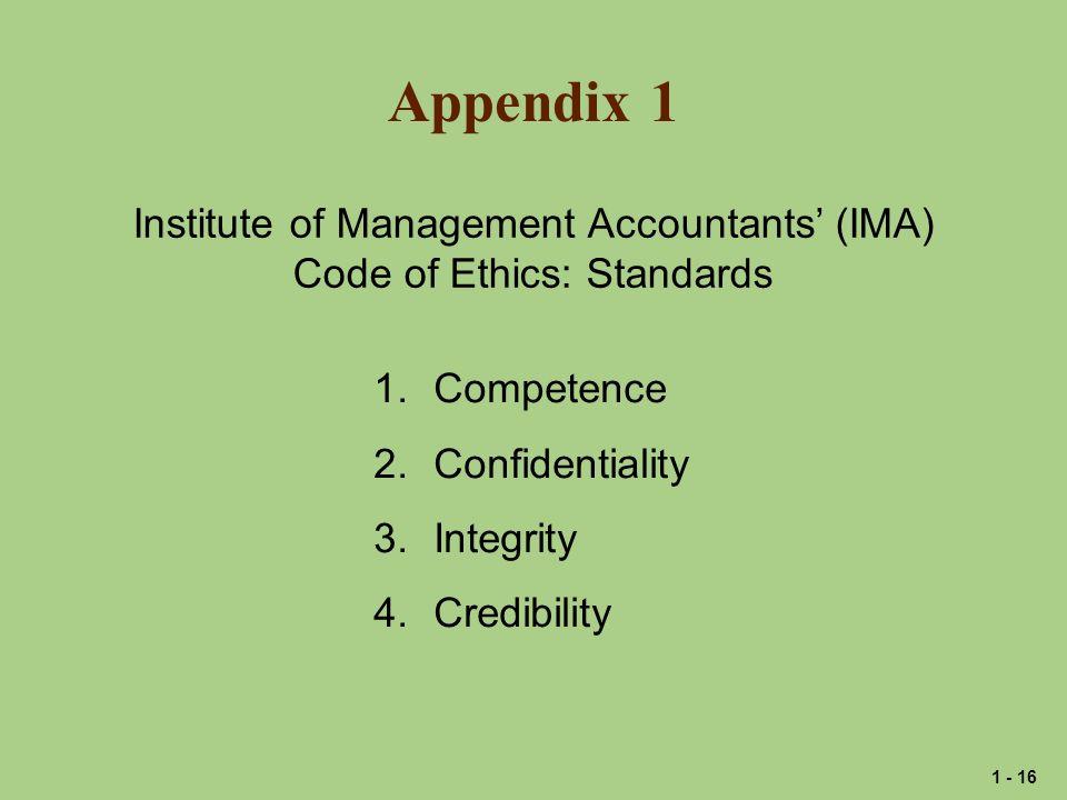 Appendix 1 Institute of Management Accountants' (IMA)