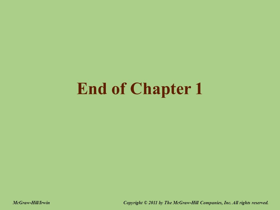 End of Chapter 1 McGraw-Hill/Irwin