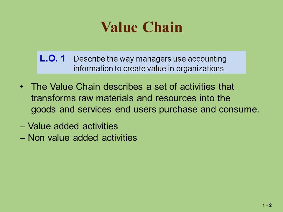 Value Chain L.O. 1 Describe the way managers use accounting