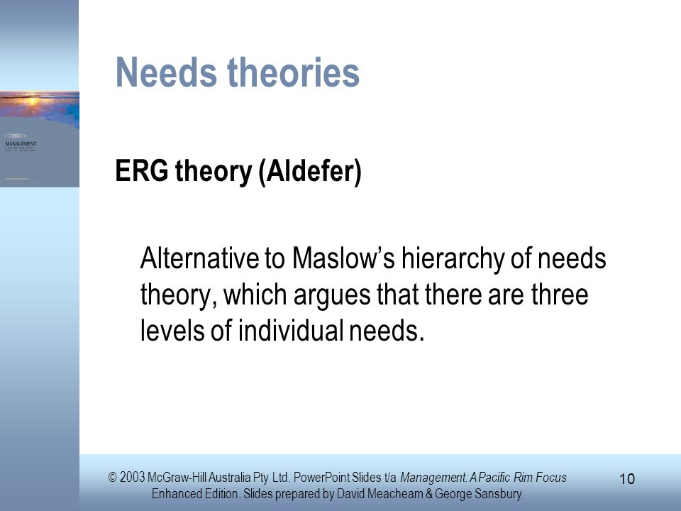 Needs theories ERG theory (Aldefer)