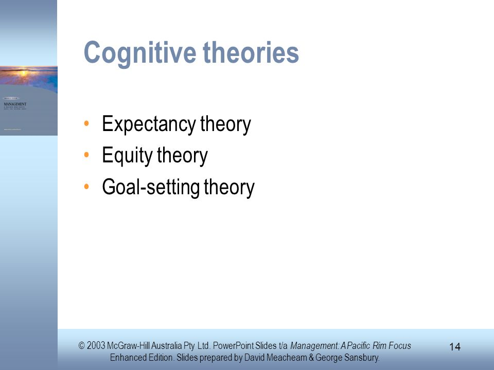 Cognitive theories Expectancy theory Equity theory Goal-setting theory