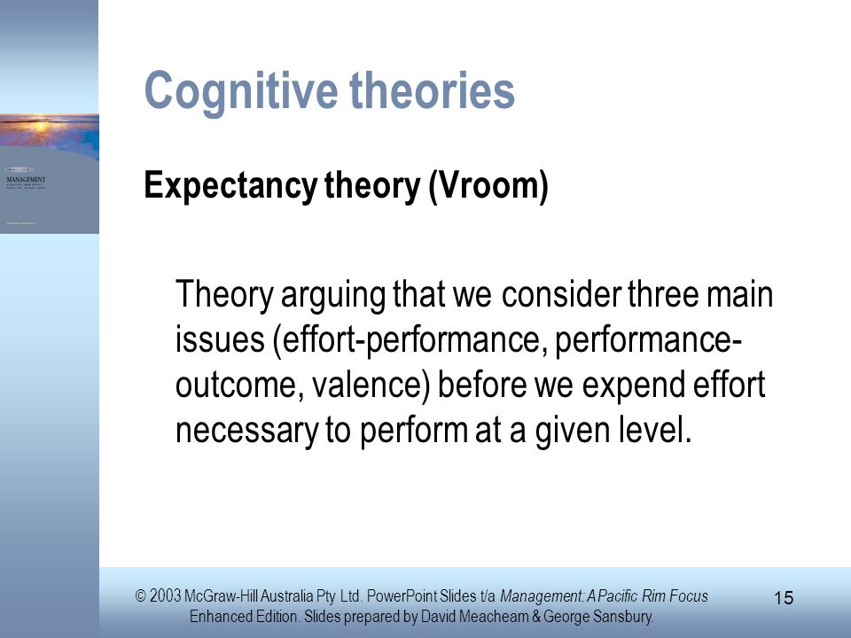 Cognitive theories Expectancy theory (Vroom)