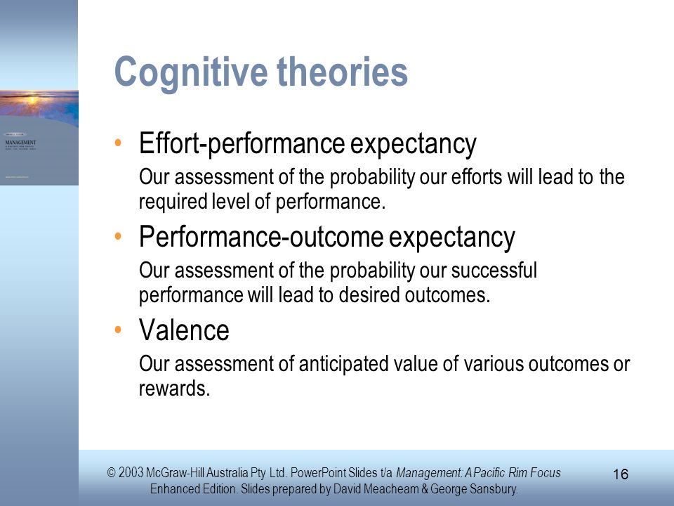 Cognitive theories Effort-performance expectancy