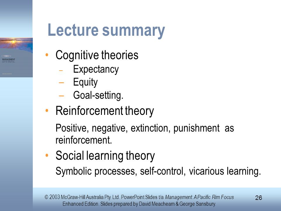 Lecture summary Cognitive theories Reinforcement theory