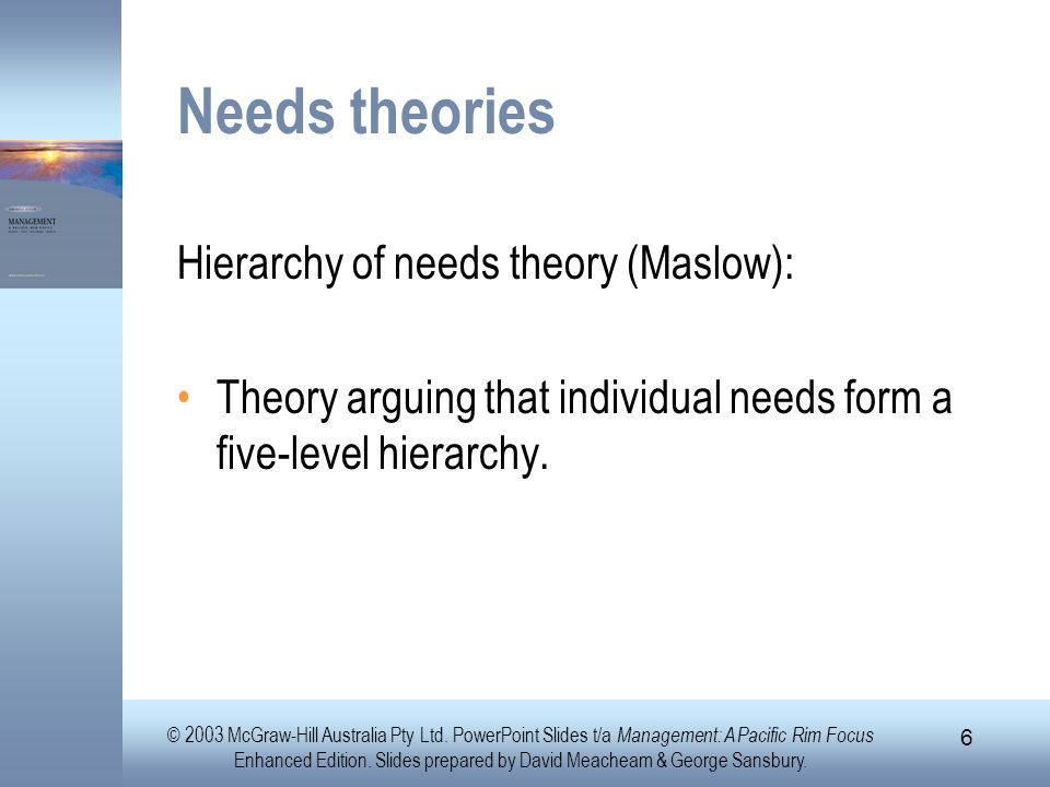 Needs theories Hierarchy of needs theory (Maslow):