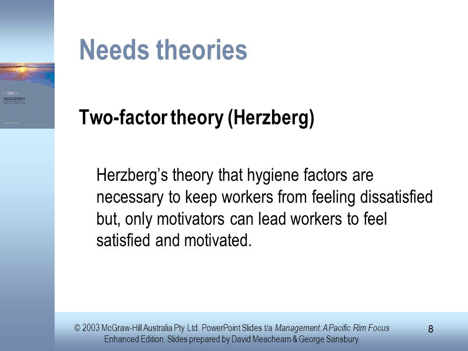Needs theories Two-factor theory (Herzberg)