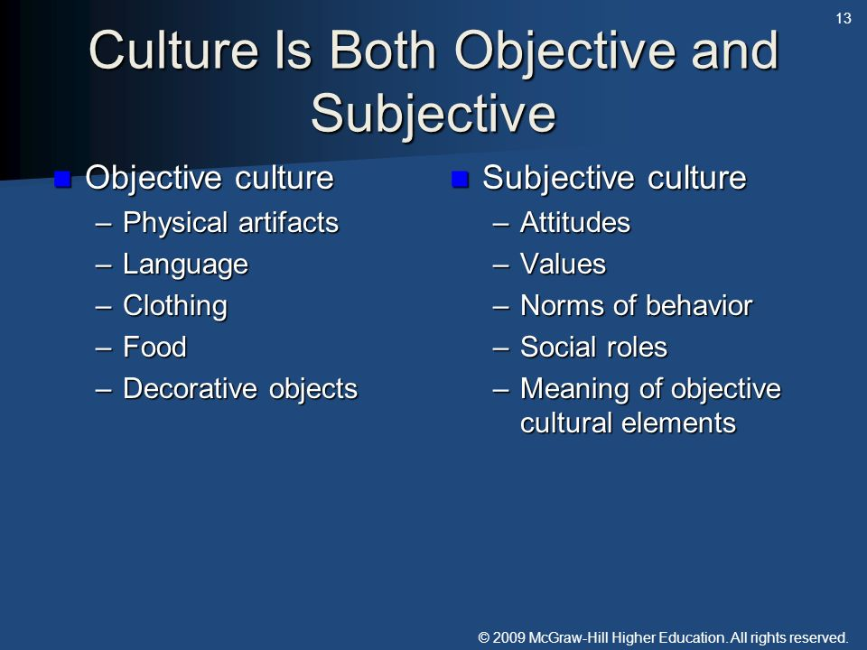 Culture Is Both Objective and Subjective