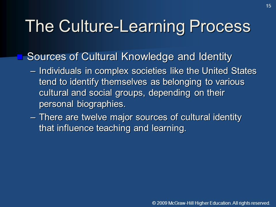 The Culture-Learning Process