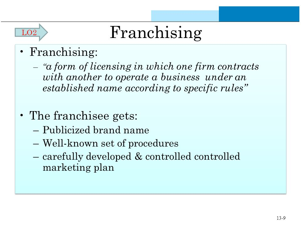 Franchising Franchising: The franchisee gets: Publicized brand name
