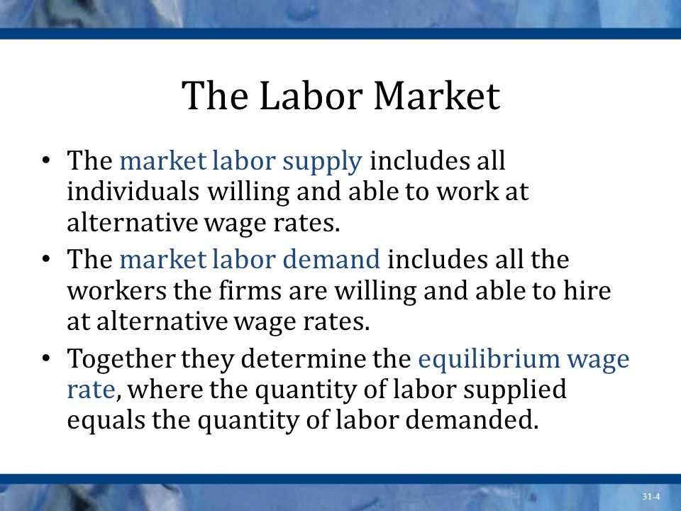 The Labor Market The market labor supply includes all individuals willing and able to work at alternative wage rates.