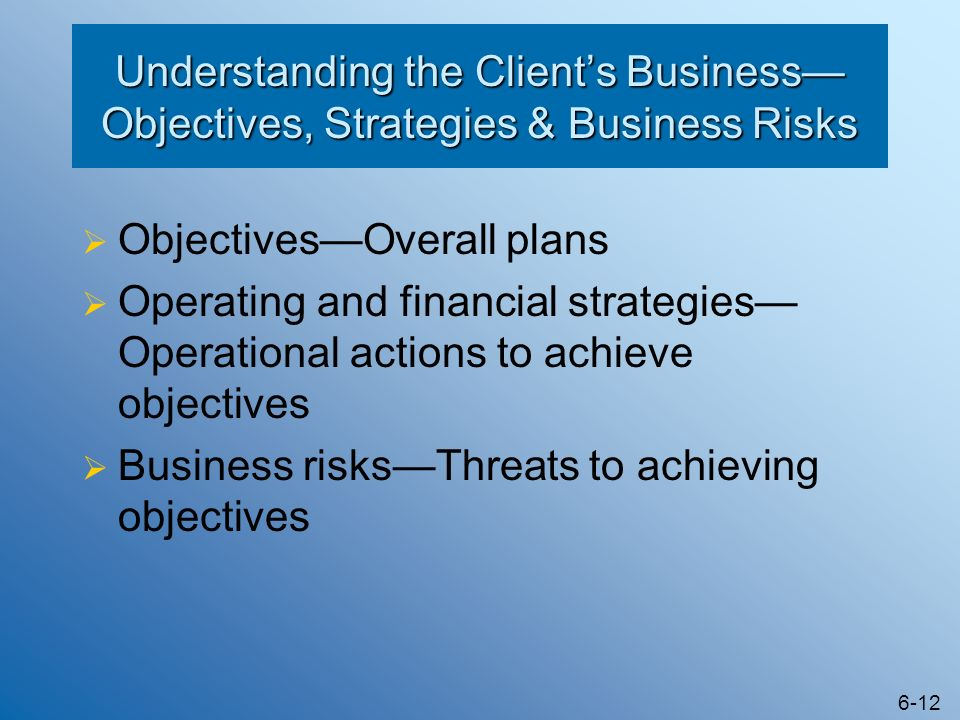 Understanding the Client's Business—Objectives, Strategies & Business Risks