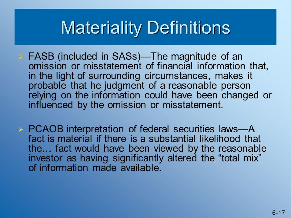 Materiality Definitions