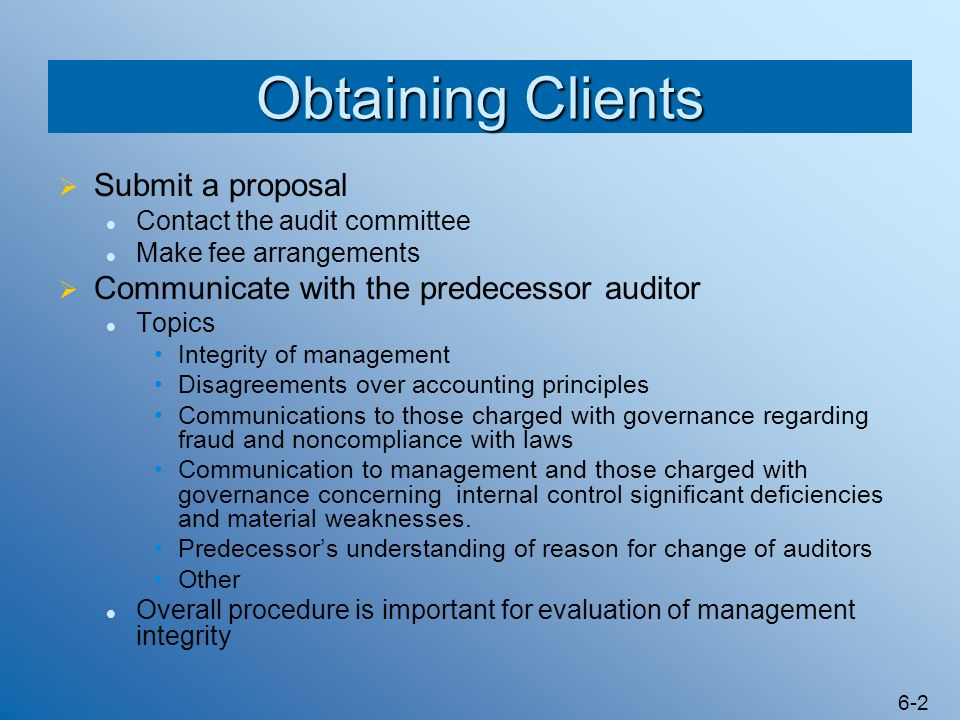 Obtaining Clients Submit a proposal