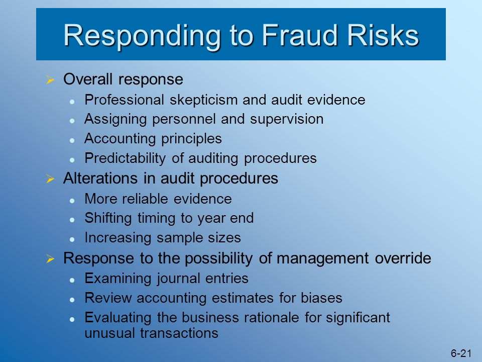 Responding to Fraud Risks