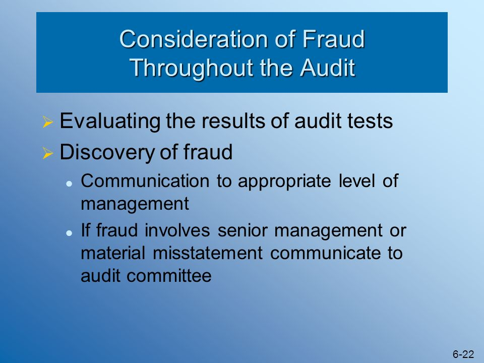 Consideration of Fraud Throughout the Audit
