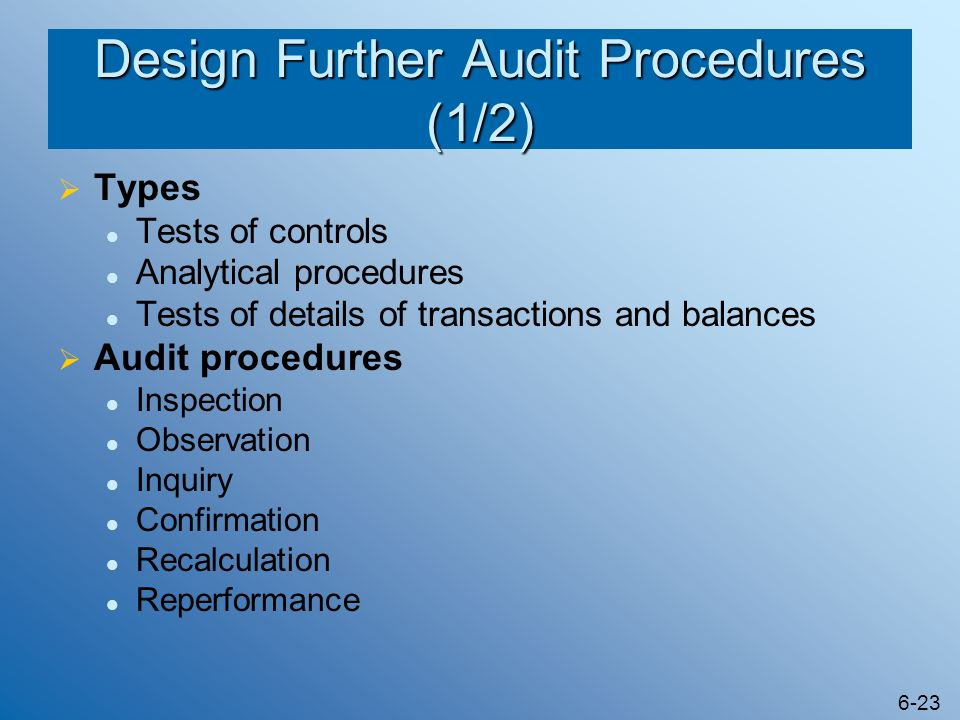 Design Further Audit Procedures (1/2)
