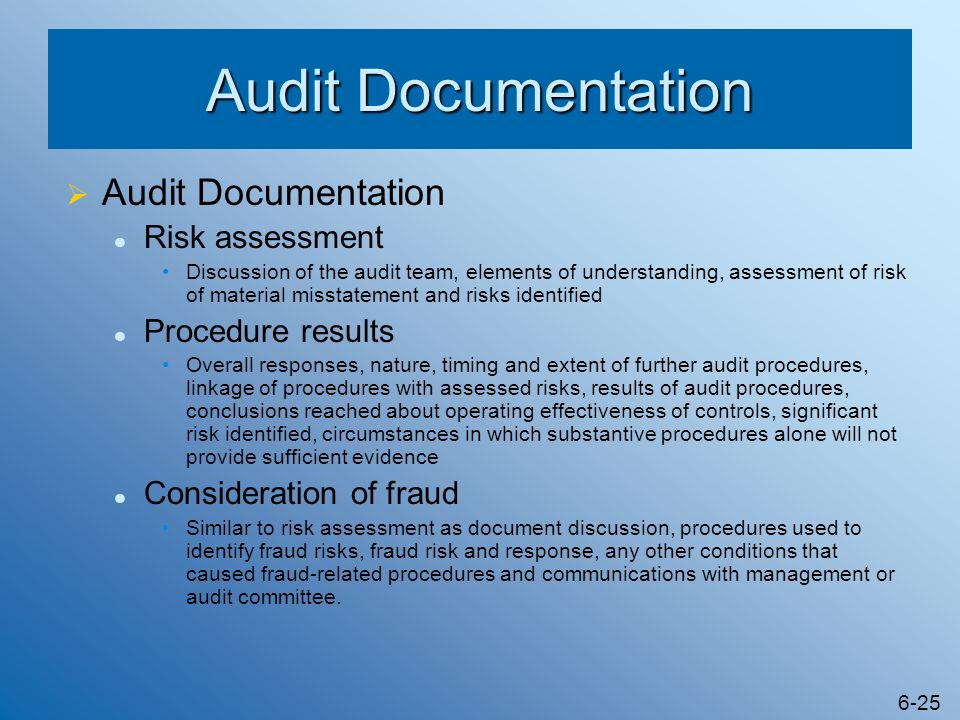 Audit Documentation Audit Documentation Risk assessment