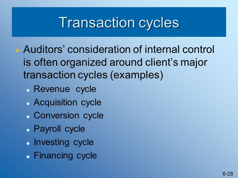 Transaction cycles Auditors' consideration of internal control is often organized around client's major transaction cycles (examples)