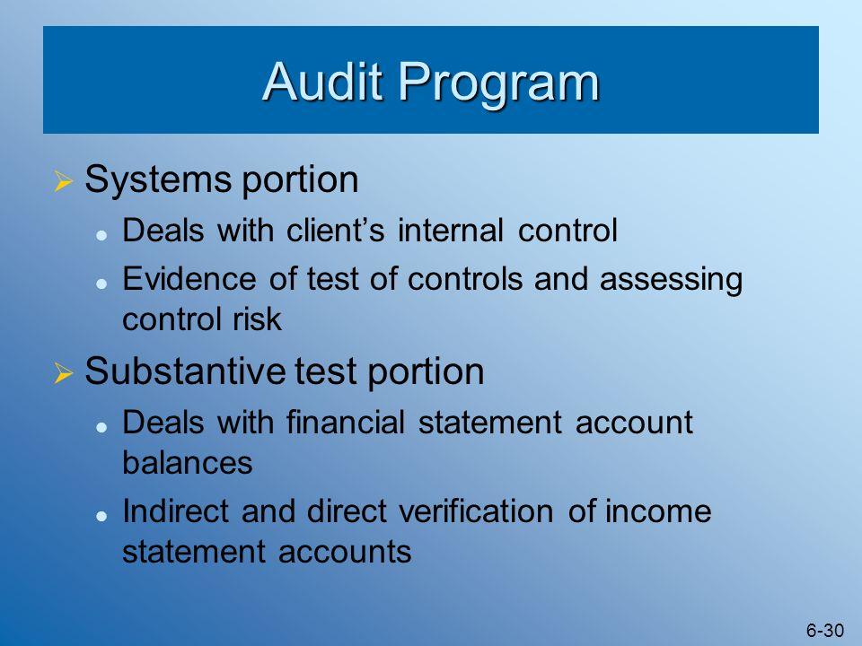 Audit Program Systems portion Substantive test portion