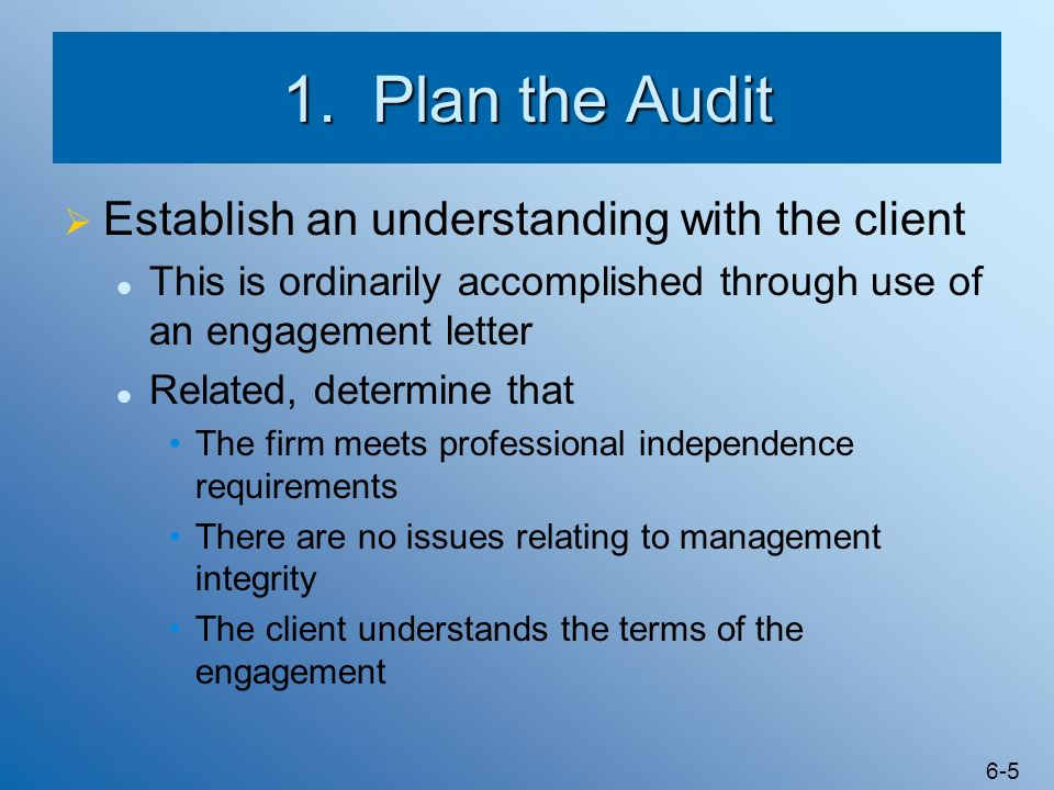 1. Plan the Audit Establish an understanding with the client
