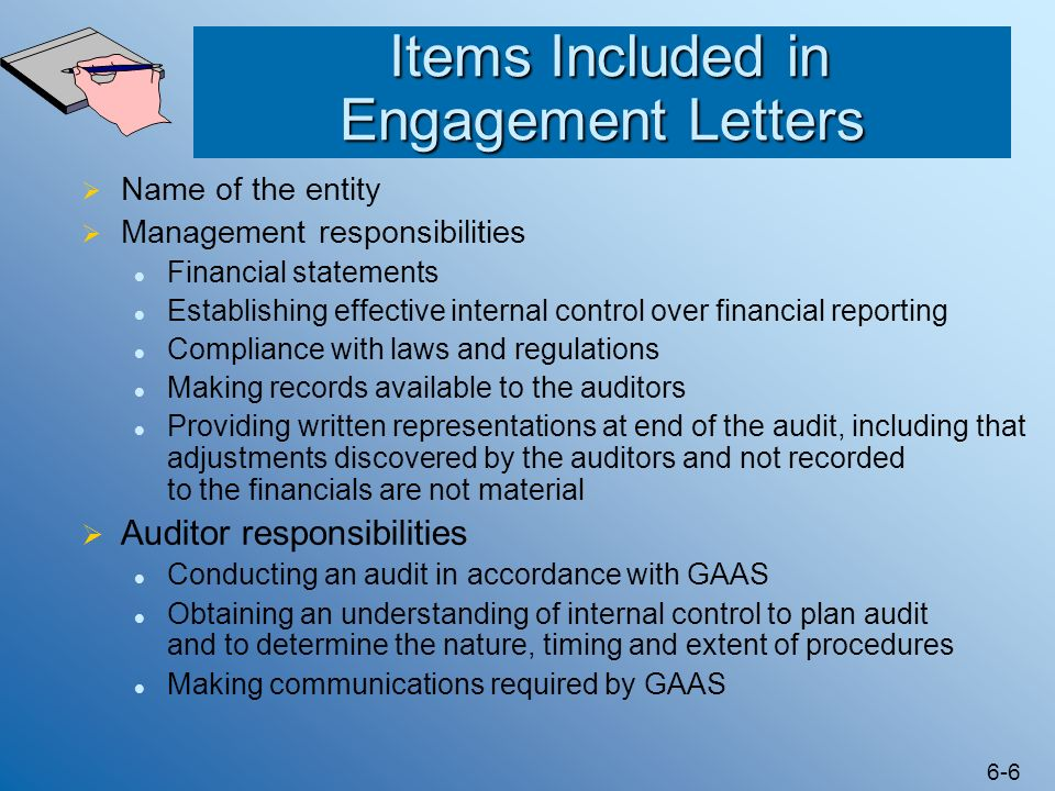 Items Included in Engagement Letters