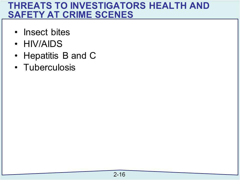 THREATS TO INVESTIGATORS HEALTH AND SAFETY AT CRIME SCENES