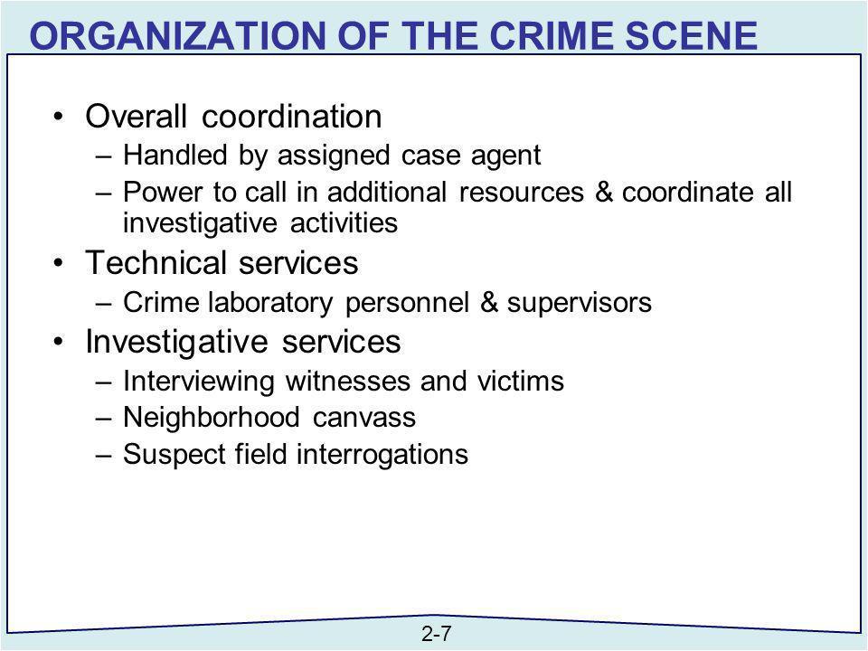 ORGANIZATION OF THE CRIME SCENE